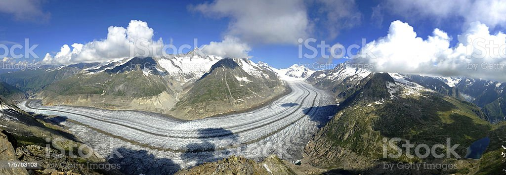 The Aletsch and Fiecher Glaciers royalty-free stock photo