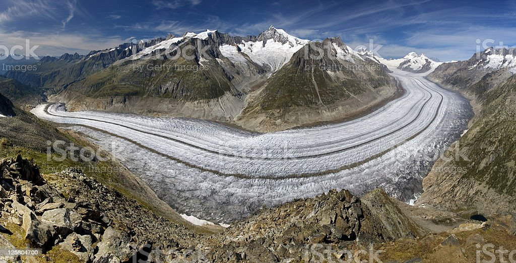 The Aletsch glacier stock photo