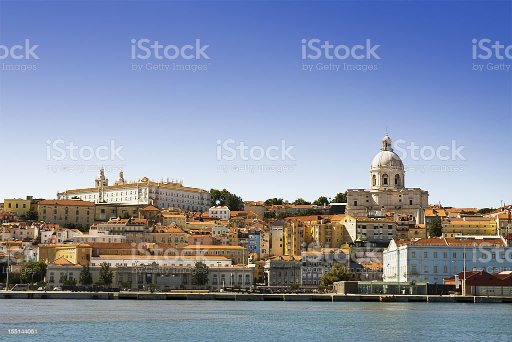 The Alfama district of Lisbon seen from the Tagus River stock photo