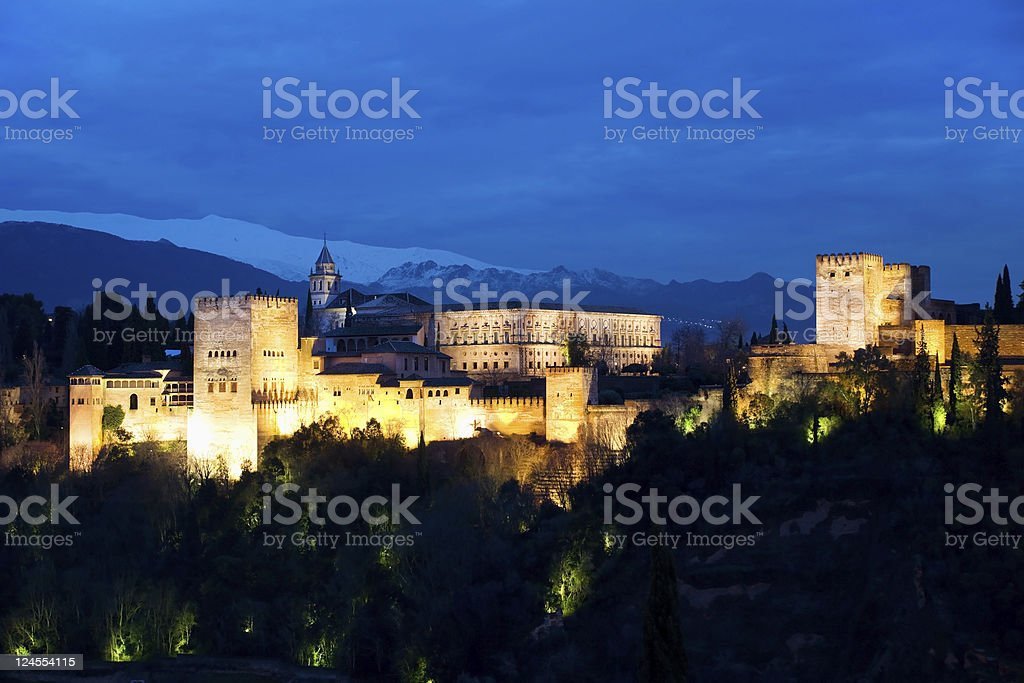 The Alhambra at nights. Granada, Andalusia, Spain royalty-free stock photo