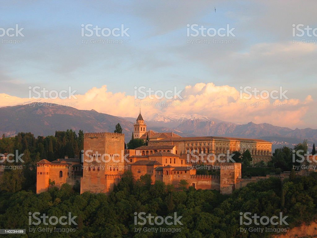 The Alhambra at Sunset royalty-free stock photo