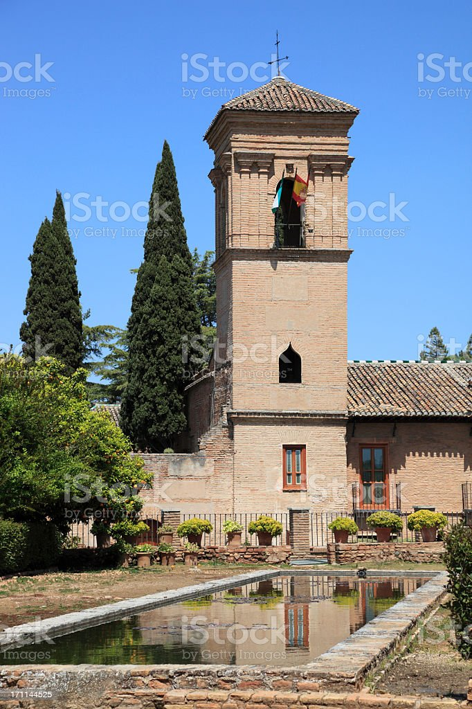 The Alhambra gardens, Granada stock photo