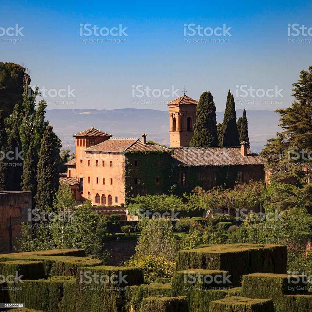 The Alhambra gardens, Granada, Spain stock photo