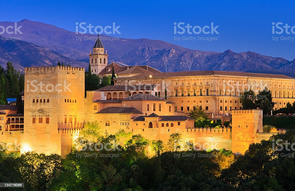The Alhambra Palace in Grenada, Spain during the evening stock photo