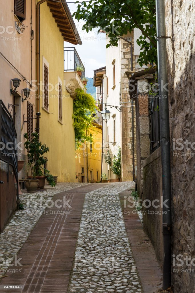 the alley of Assisi stock photo