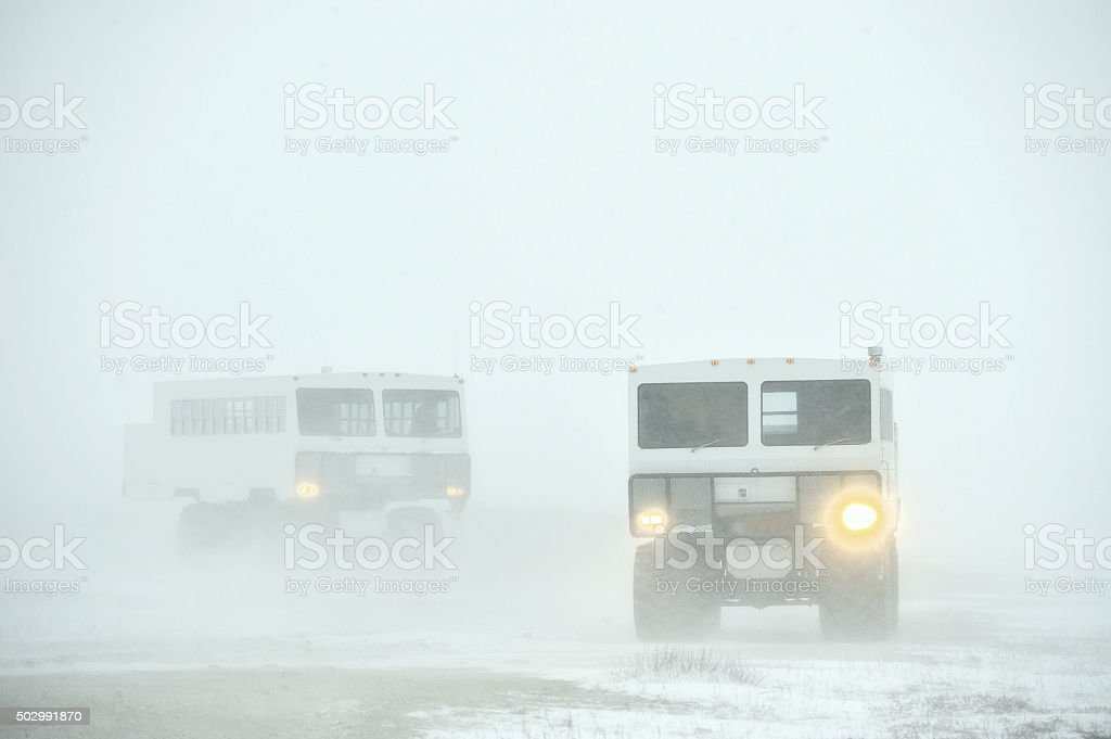 The all-terrain vehicles for snow stock photo