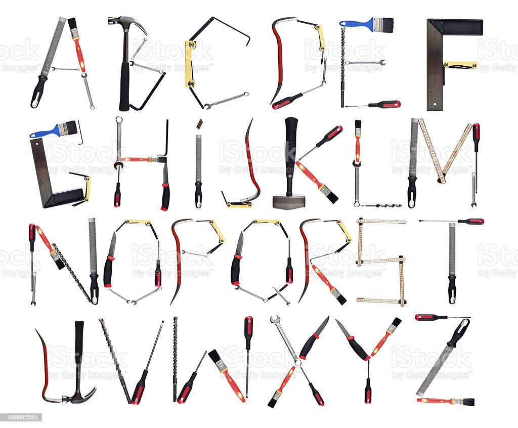 The Alphabet formed by tools stock photo