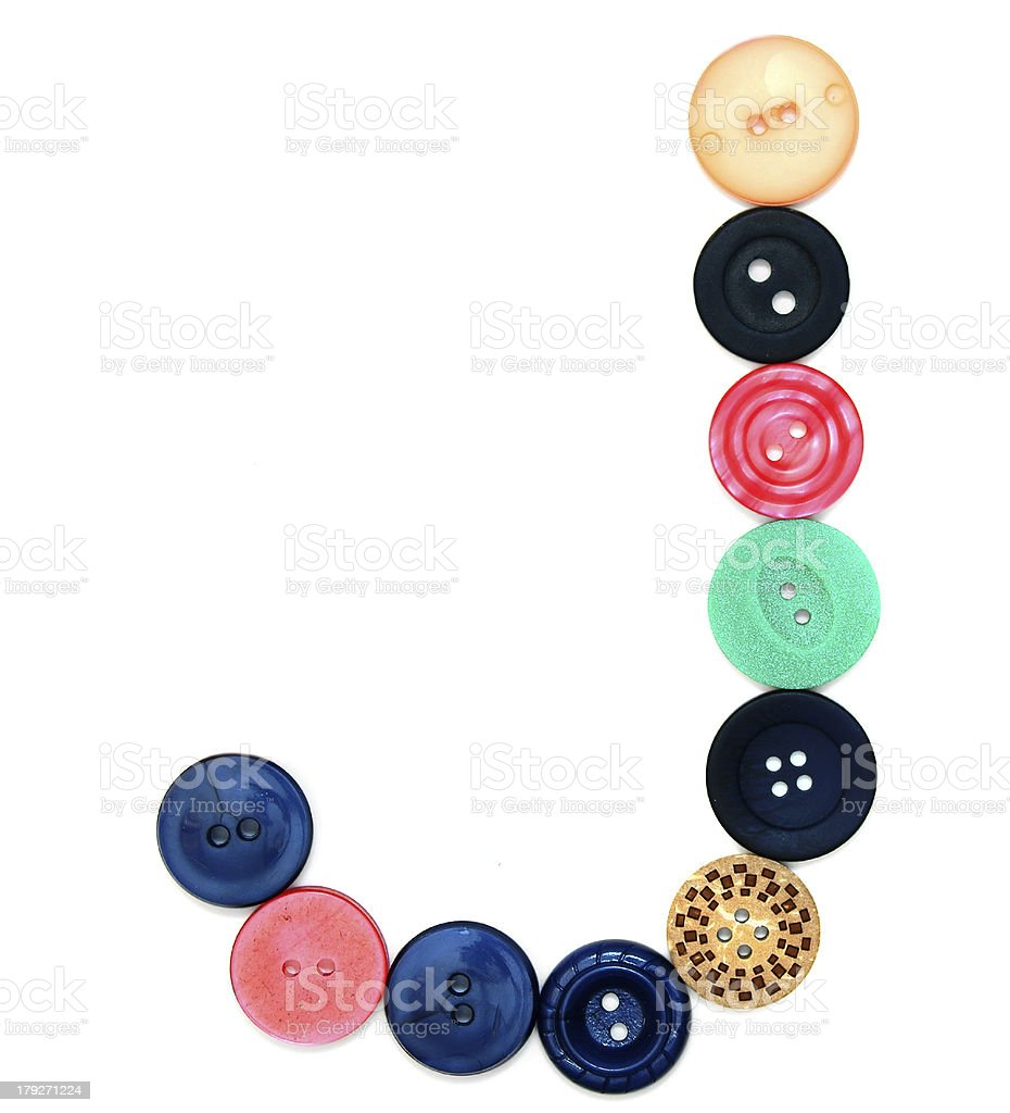 The alphabet from buttons for sewing. royalty-free stock photo