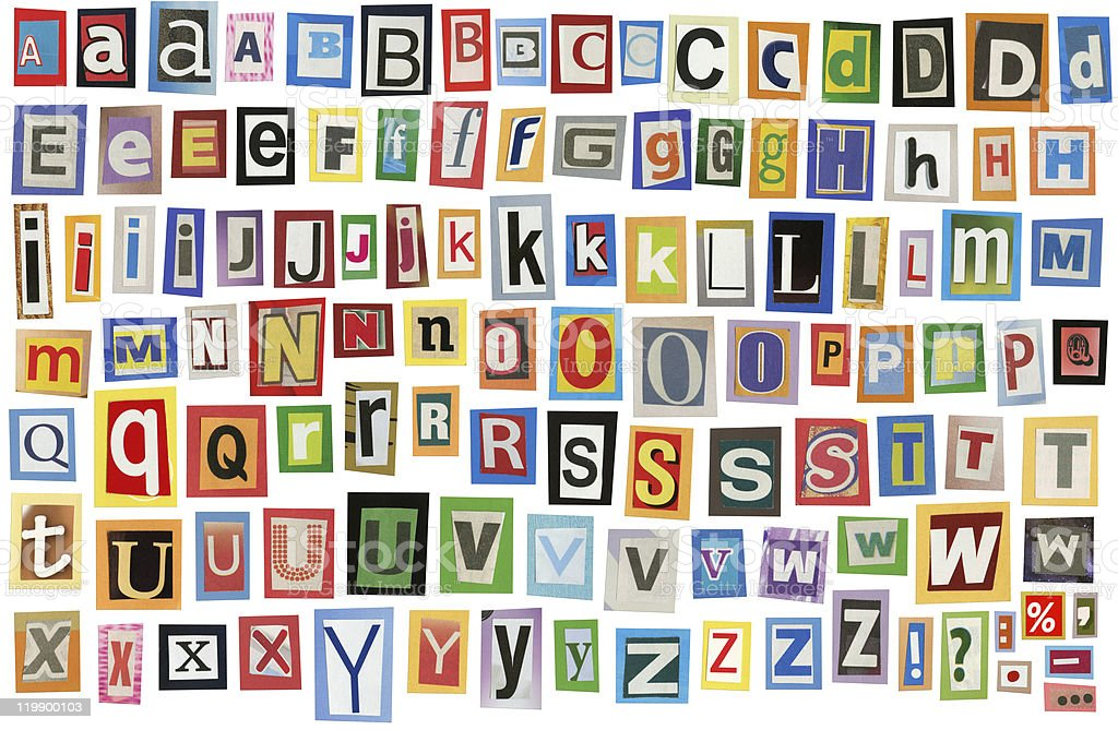 The alphabet in different typography royalty-free stock photo