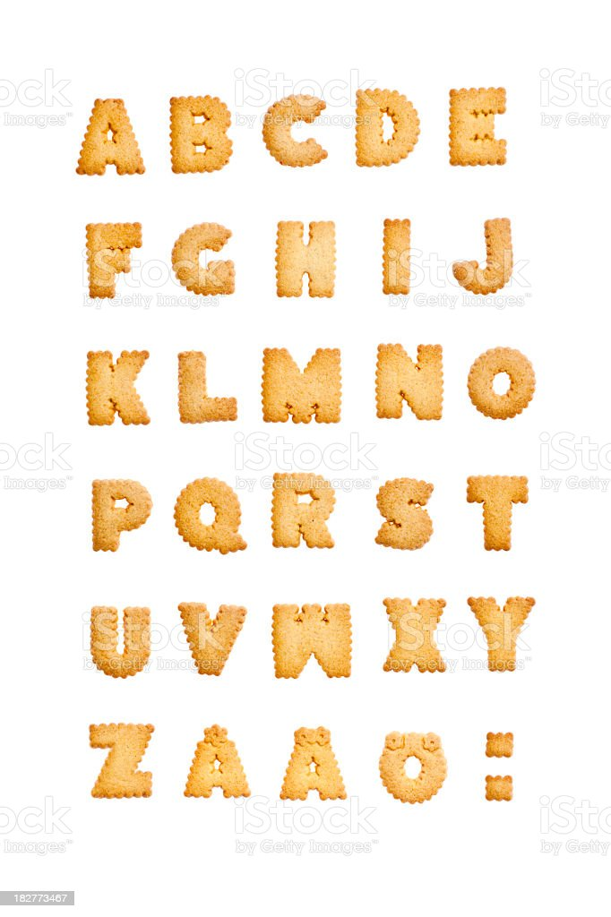 The alphabet made out of cookie letters on white background stock photo