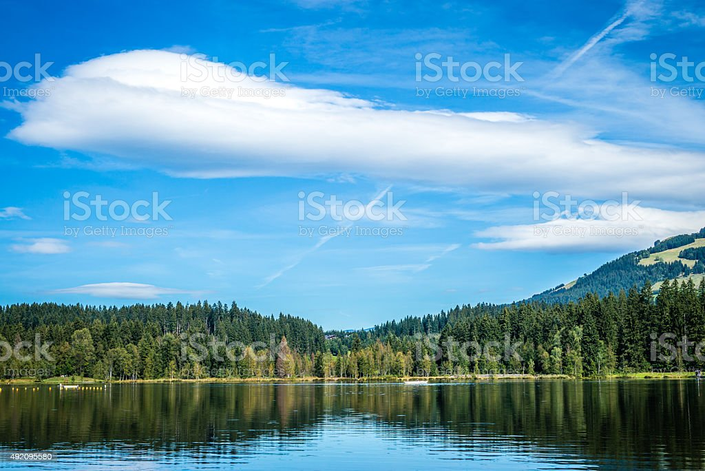 The alpine lake Schwarzsee stock photo