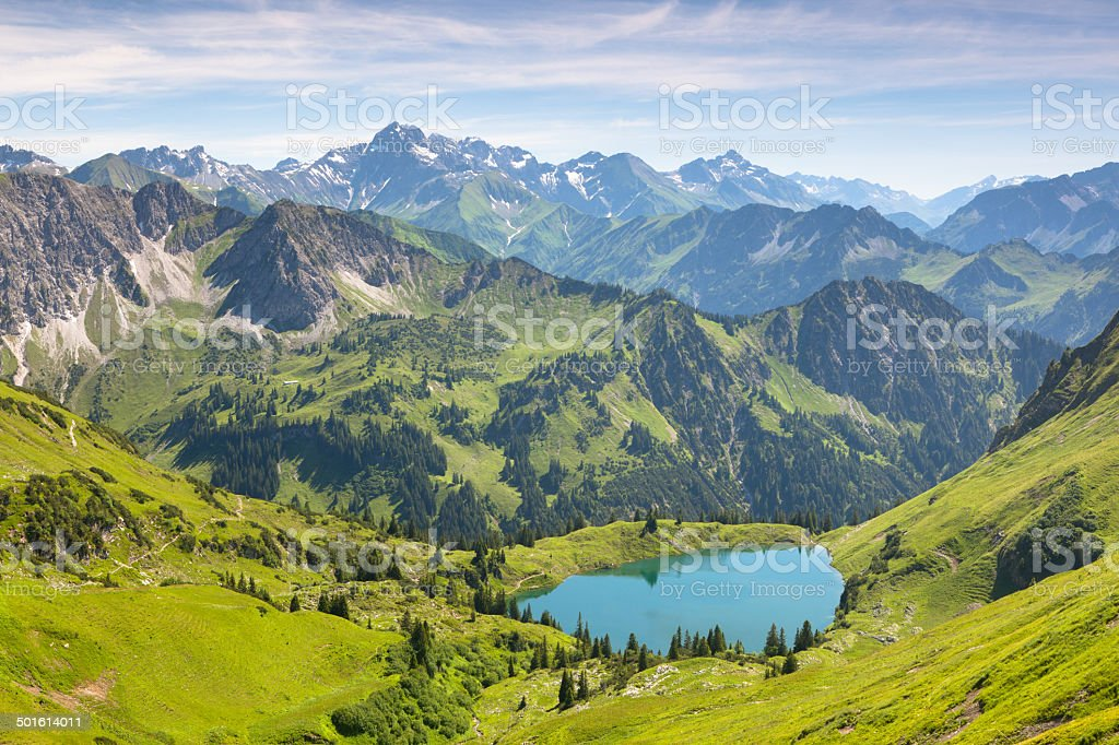 the alpine lake seealpsee near oberstdorf, bavaria, germany stock photo