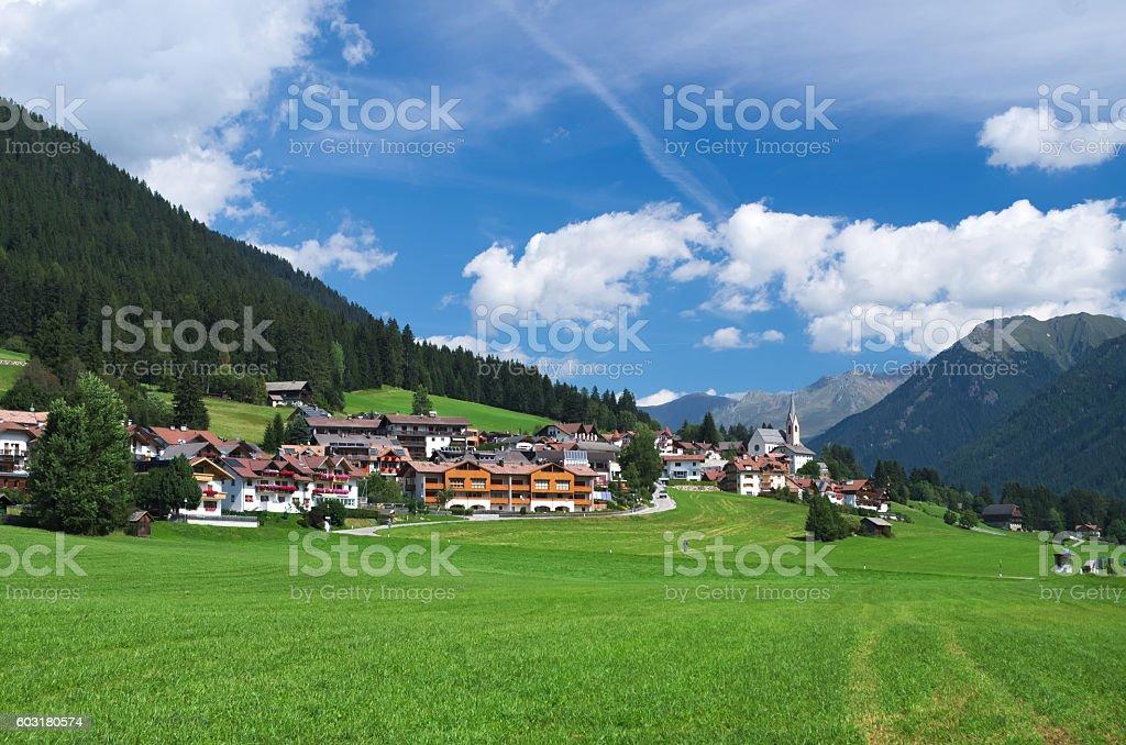 The alpine village of St. Magdalena stock photo