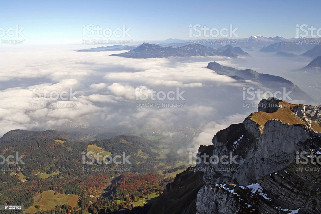 The Alps and Lake Luzern from Pilatus royalty-free stock photo