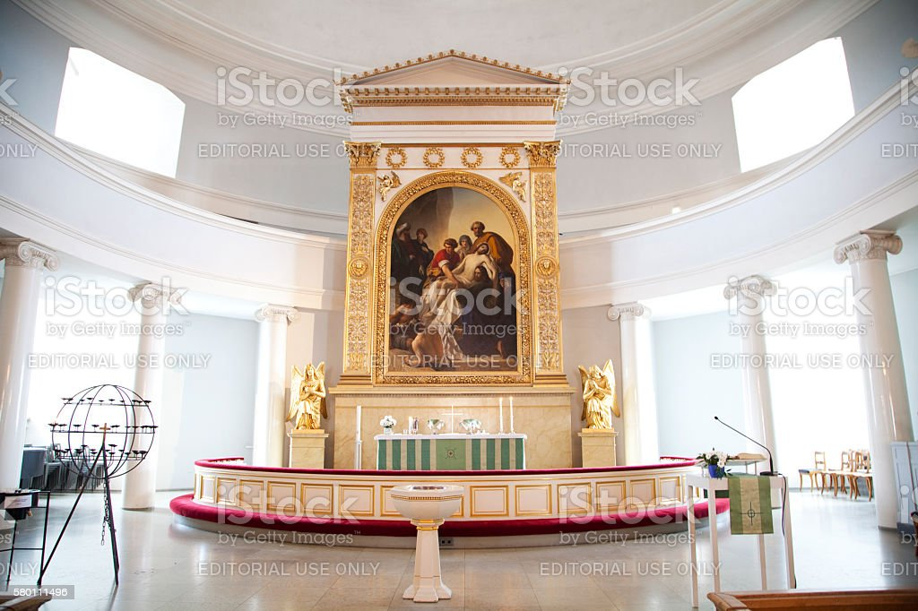 The Altar at the Helsinki Lutheran Cathedral, Finland. stock photo