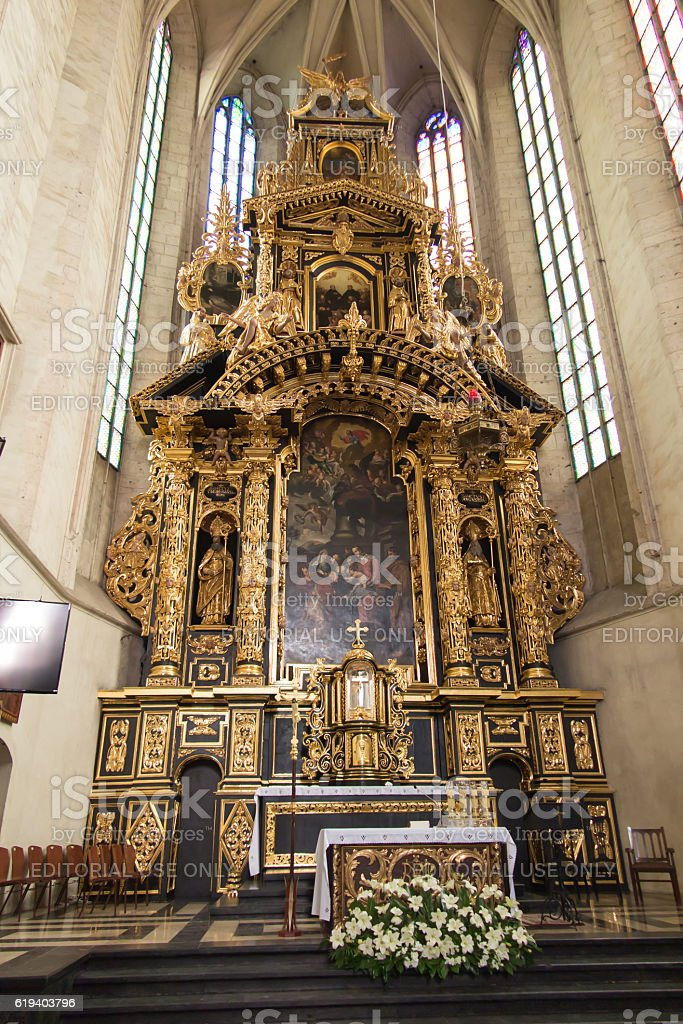 The altar in the church of St. Catherine in Krakow stock photo