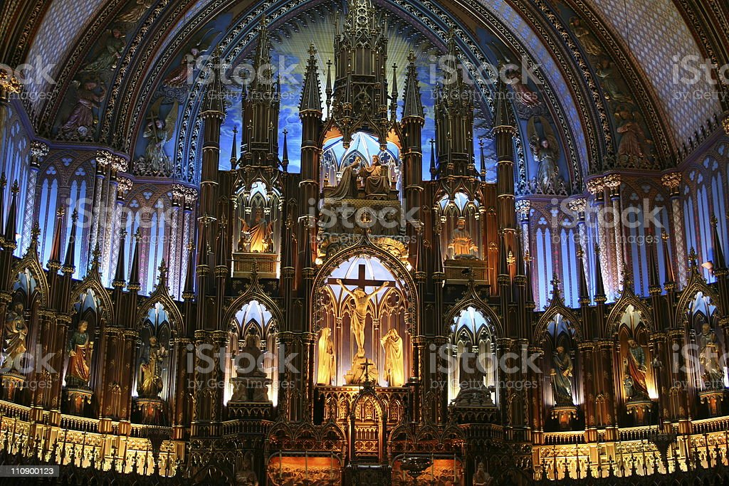 The altar of Basilique Notre-Dame in Montréal royalty-free stock photo