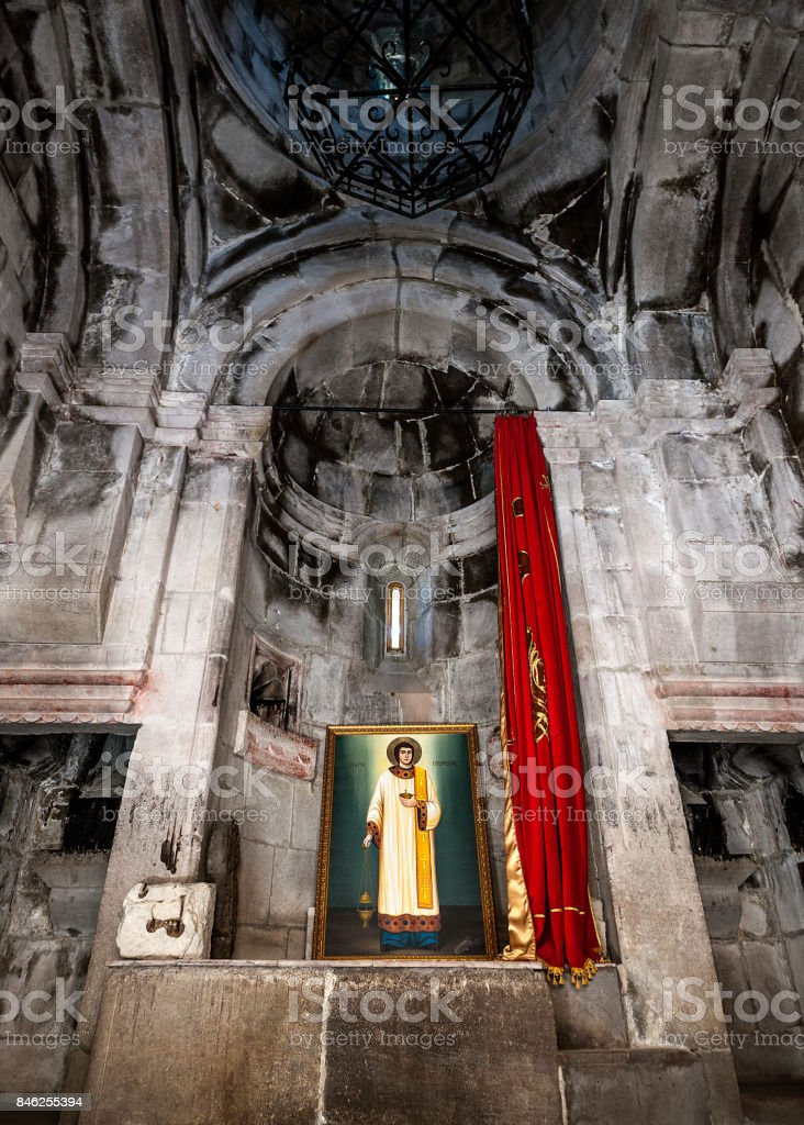The altar of St. Grigor Church of the eleventh century in the monastery of Haghartsin. stock photo