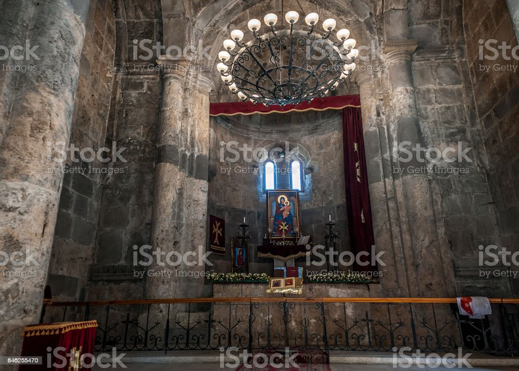 The altar of the Surb Stepanos church of the twelfth century in the monastery of Haghartsin. stock photo