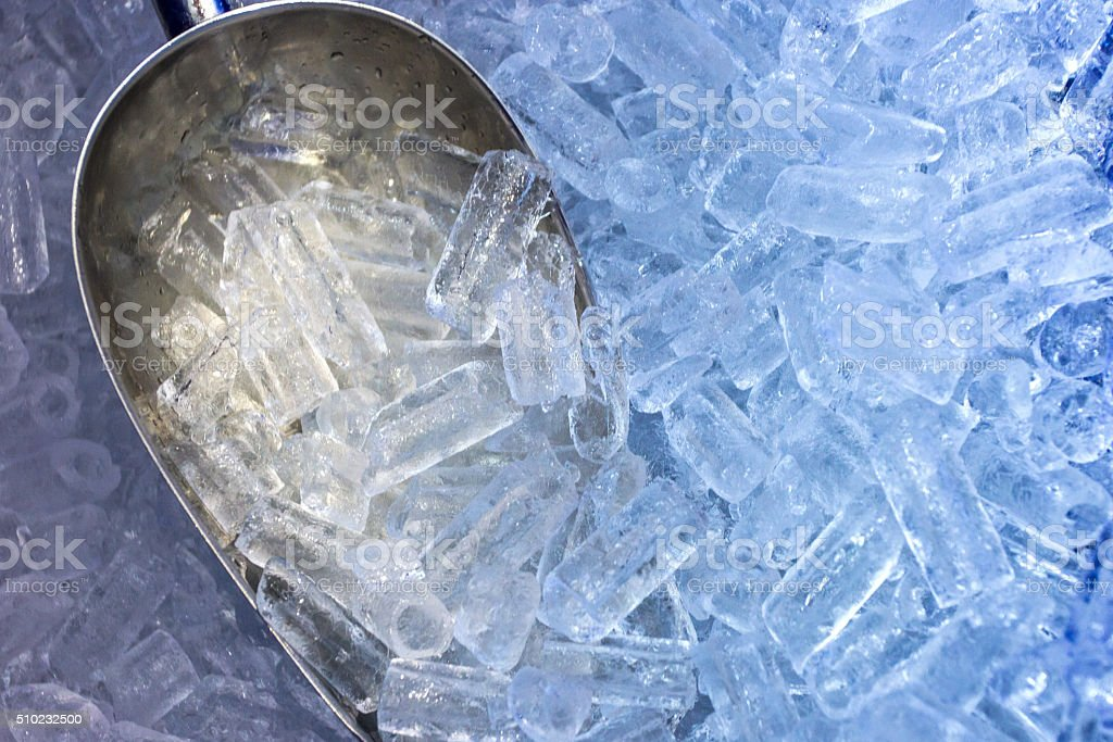 The aluminum scoop and ice stock photo