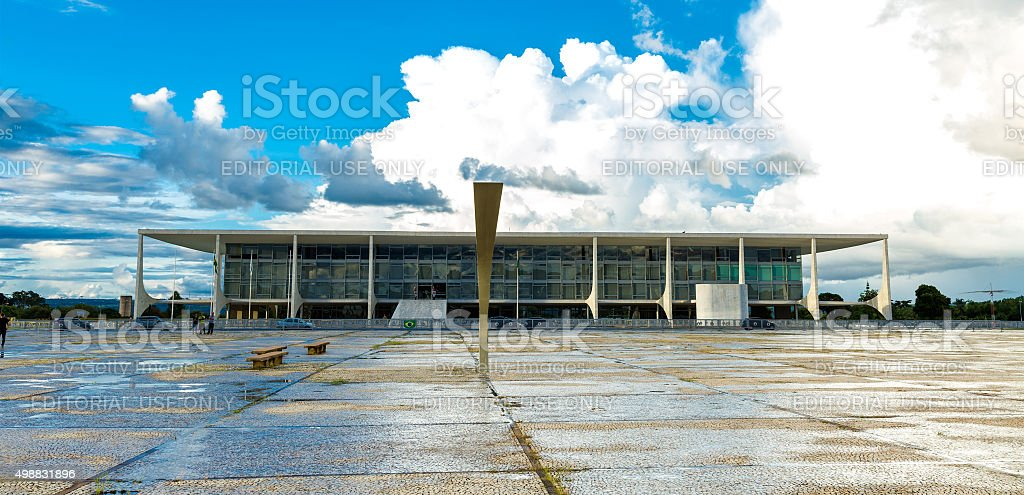 The Alvorada Palace in Brasilia, Brazil stock photo