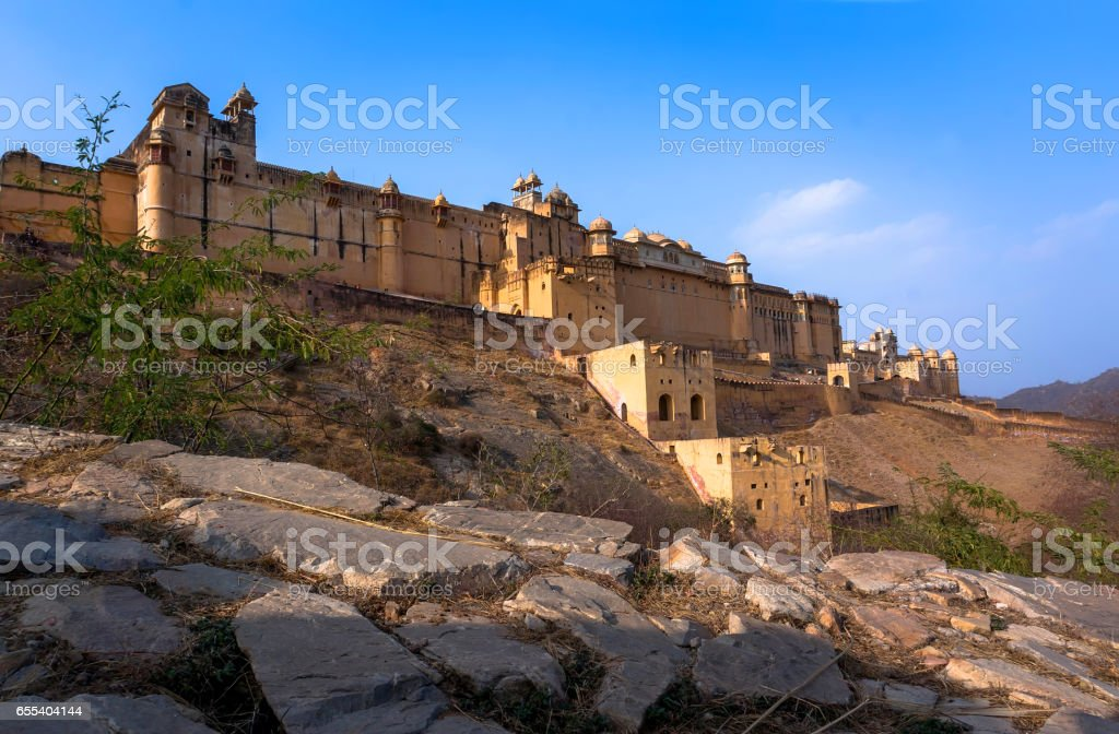 the Amber Fort, the external walls of the Amber Fort stock photo