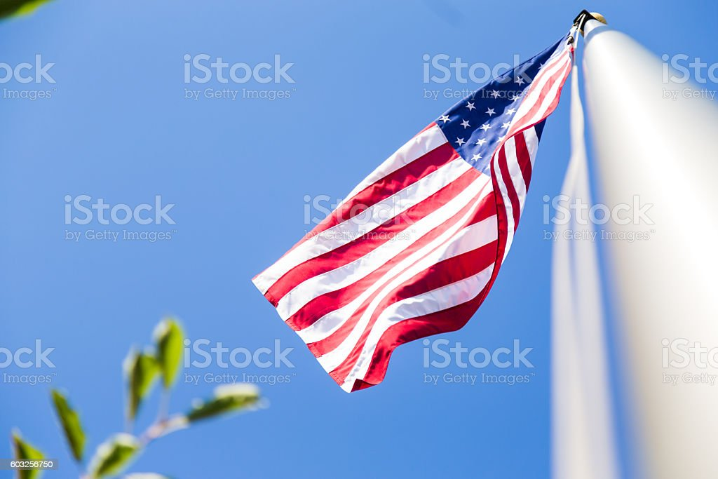 The American flag, flowing in the wind. stock photo