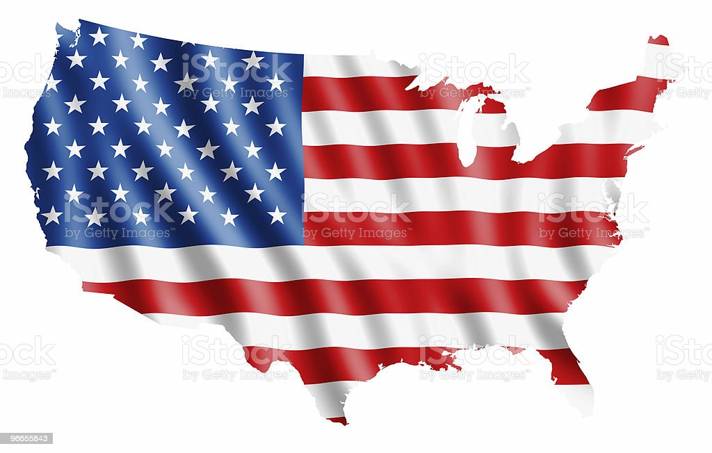 The American flag in the shape of the United States stock photo