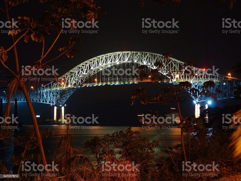 The Americas Bridge, Panama Canal, at night stock photo