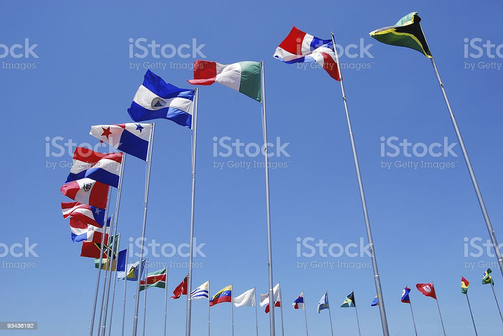 The Americas Flags royalty-free stock photo