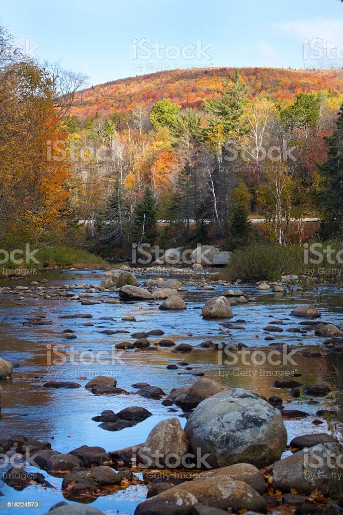 The Ammonusuc River flows through the White Mountains, New Hampshire. stock photo