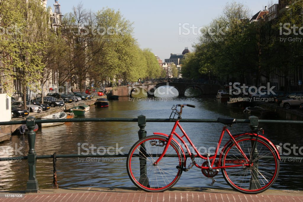 The Amsterdam city scene with a bike royalty-free stock photo