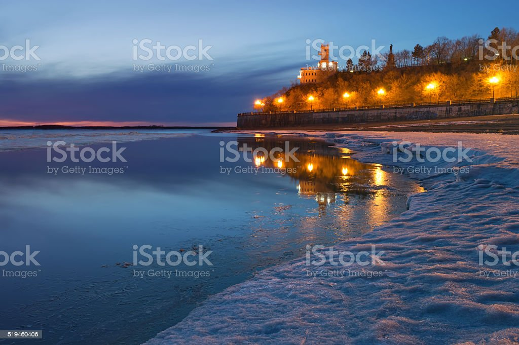 The Amur Cliff. The reflection in the water stock photo