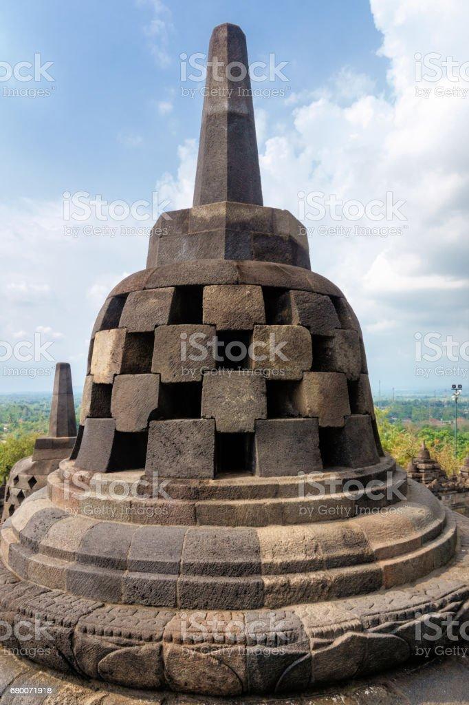 The ancient 9th-century pagoda of Buddhist temple Borobudur stock photo