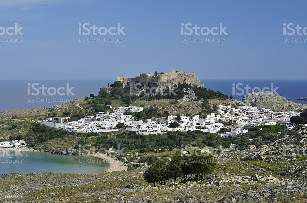 The ancient Acropolis of Lindos royalty-free stock photo