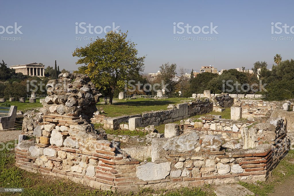 The Ancient Agora, Athens stock photo