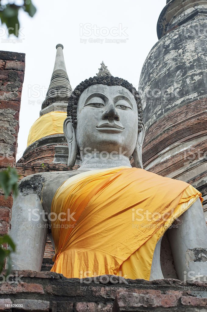the ancient buddha statue in Ayathaya, Thailand royalty-free stock photo