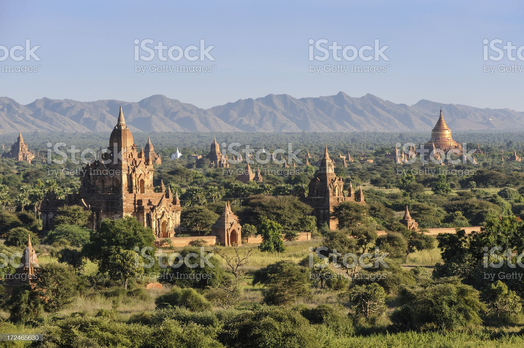 The ancient Buddhist temples of Bagan in Burma royalty-free stock photo