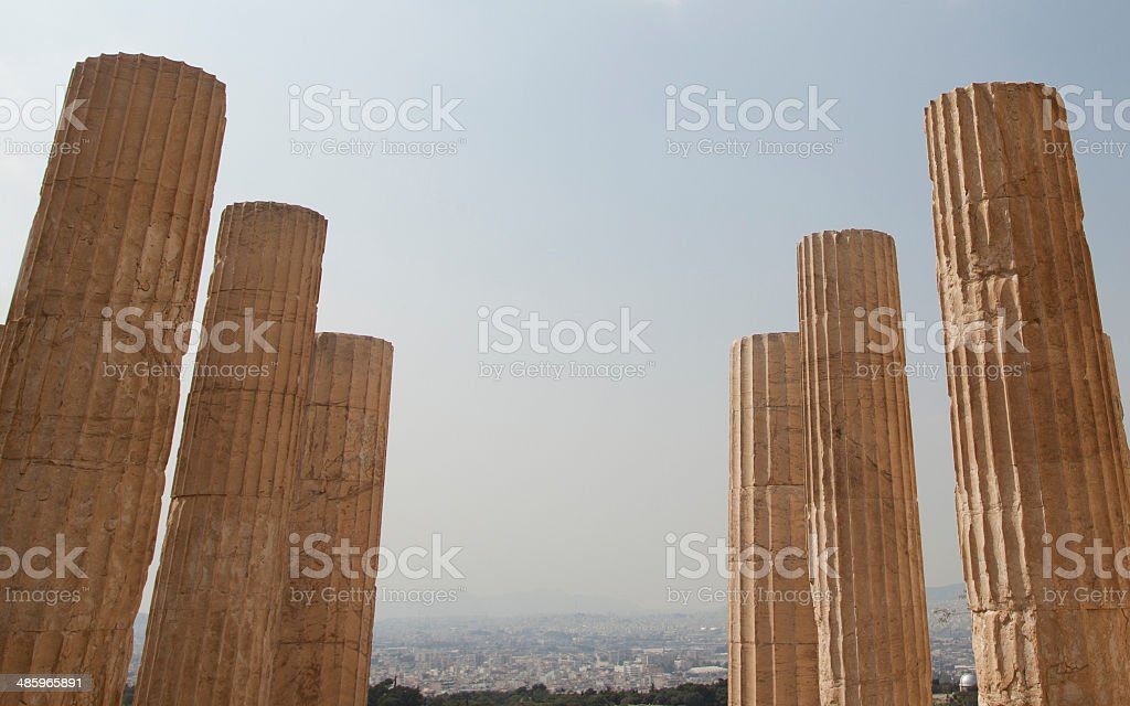 The ancient buildings in Athens stock photo