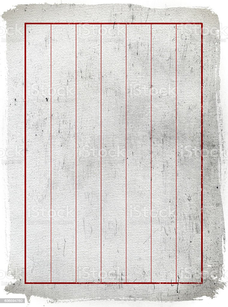 The ancient Chinese writing paper isolated on white background stock photo