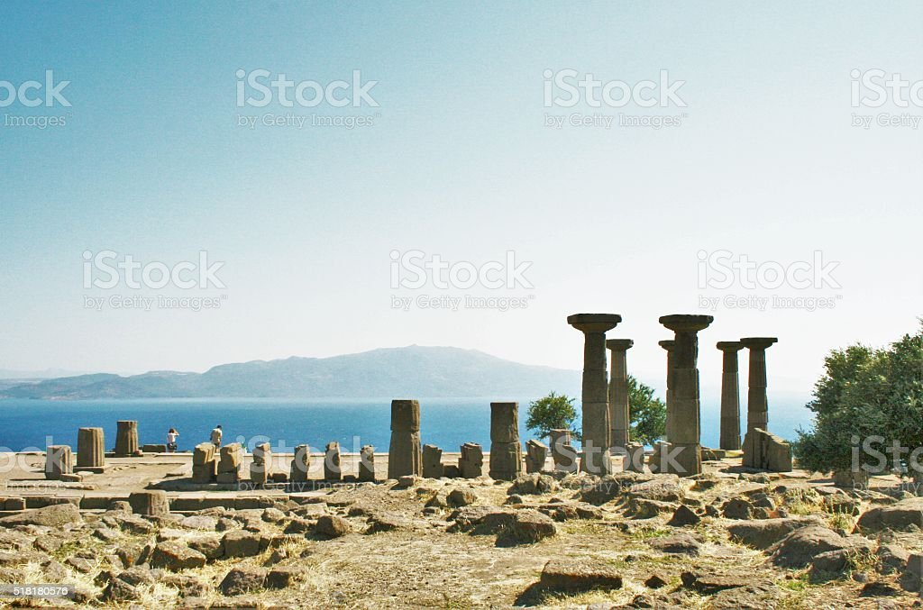 The ancient city of Assos and Doric columns stock photo