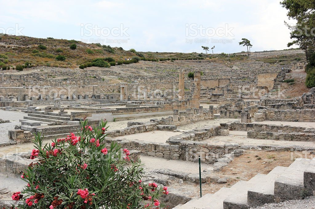 The ancient city of Kameiros (Kamiros), Rhodes, Greece. stock photo