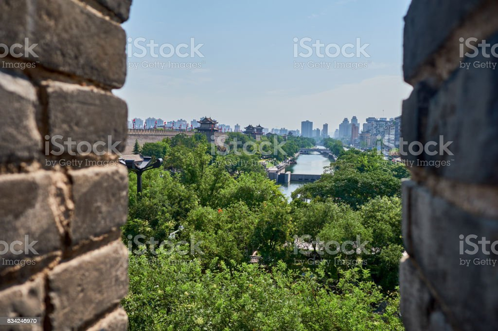 The ancient city wall of Xi'An stock photo