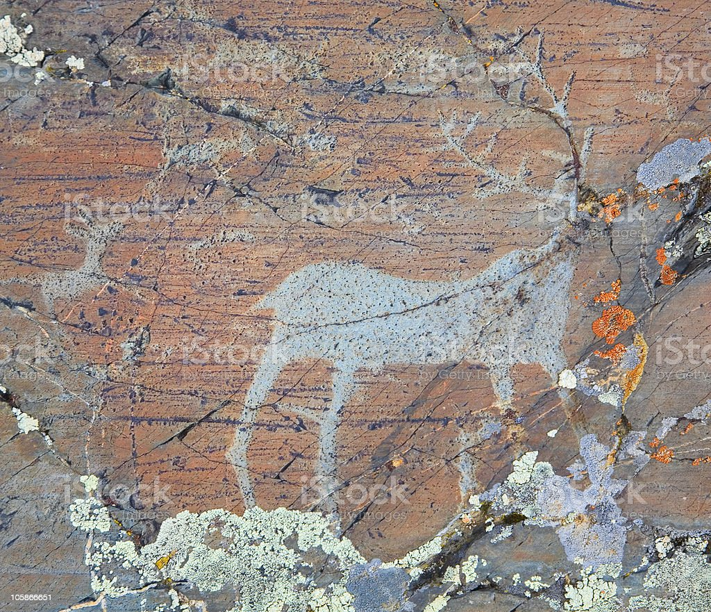 The ancient drawings on rocks Altai royalty-free stock photo