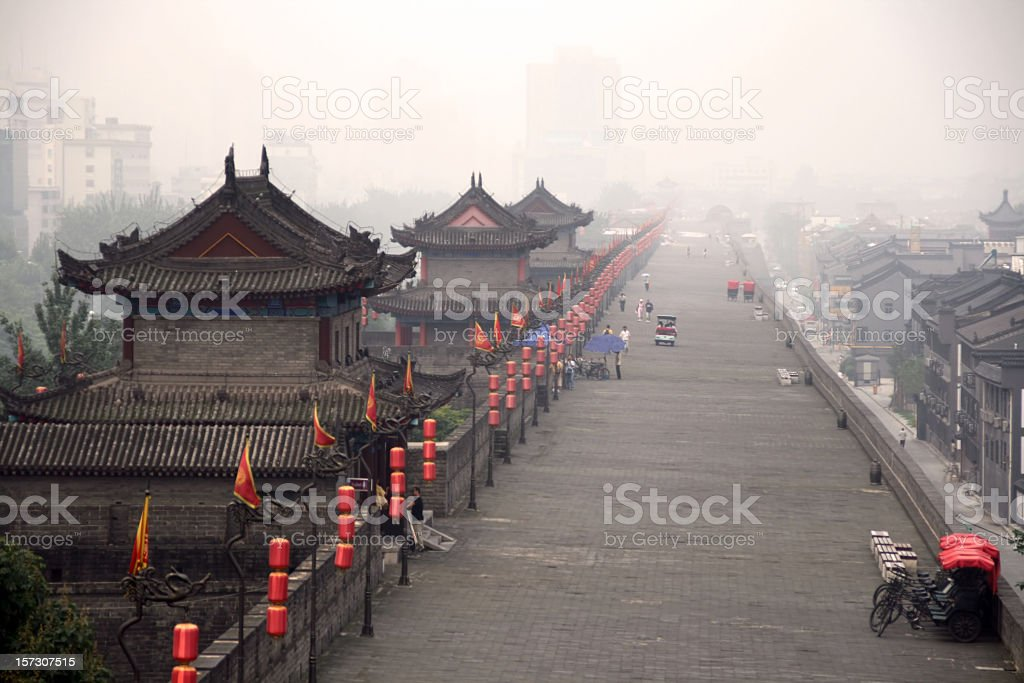 The ancient fortifications of Xian, China stock photo