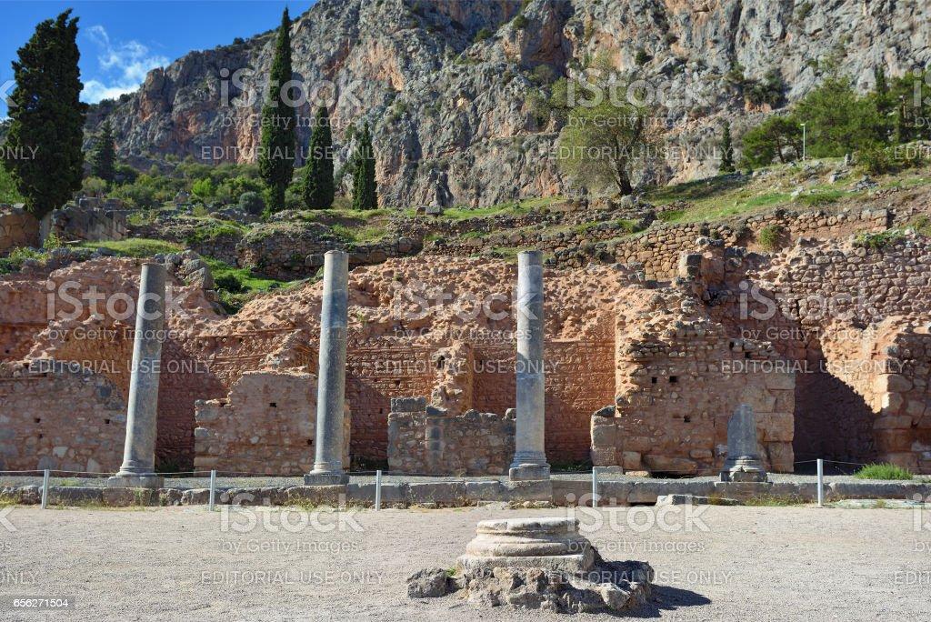 The ancient Greek columns in Delphi, Greece stock photo