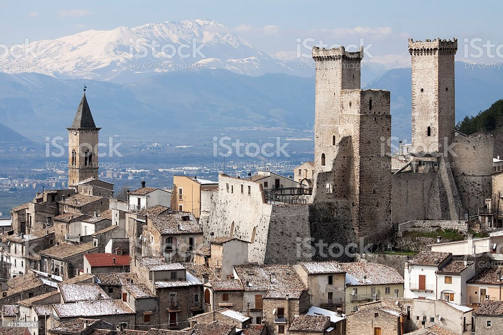 The ancient medieval town of Pacentro in Abruzzi, Italy stock photo