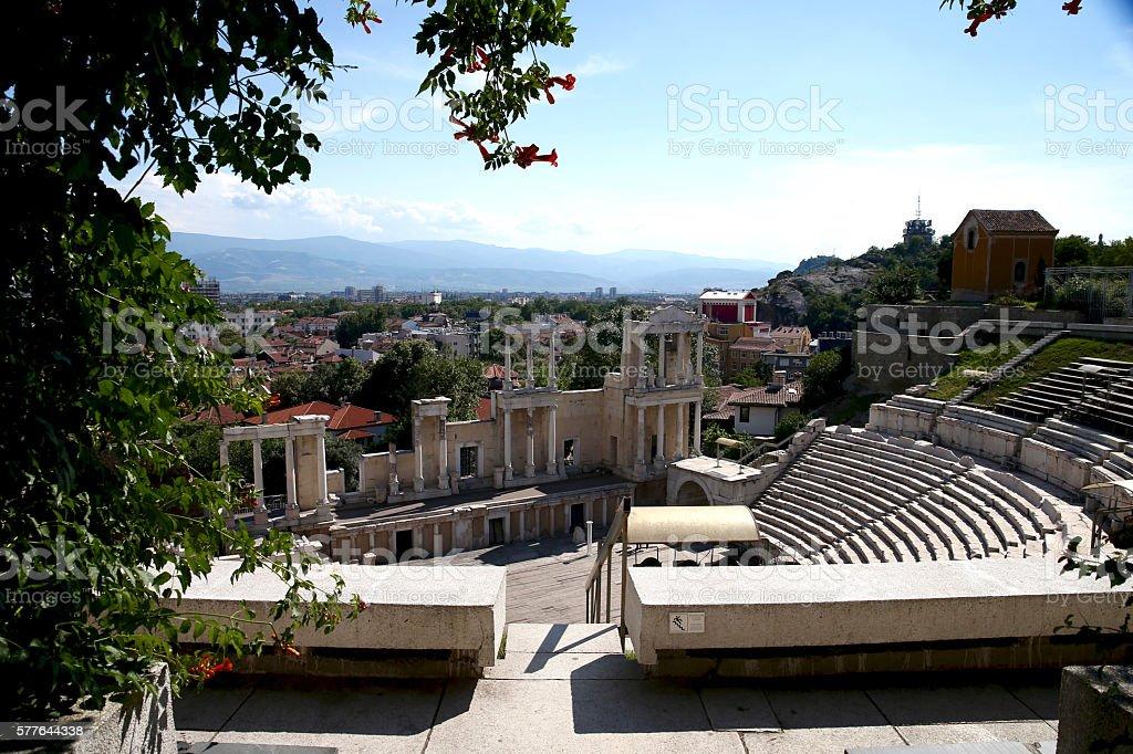 The ancient Roman stadium in Plovdiv. Bulgaria, Europe. stock photo