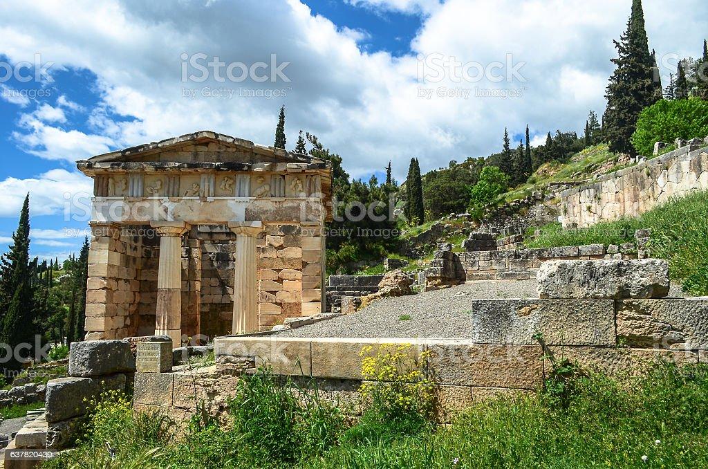 The ancient ruins of the temple of Apollo in Delphi. stock photo
