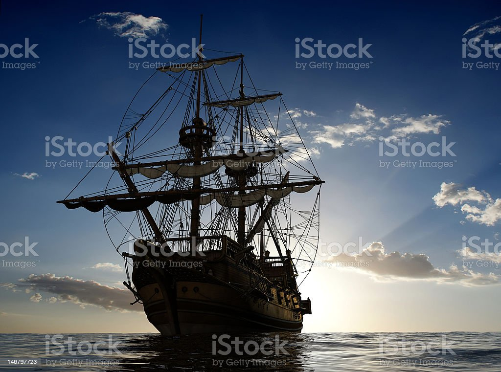 The ancient ship stock photo
